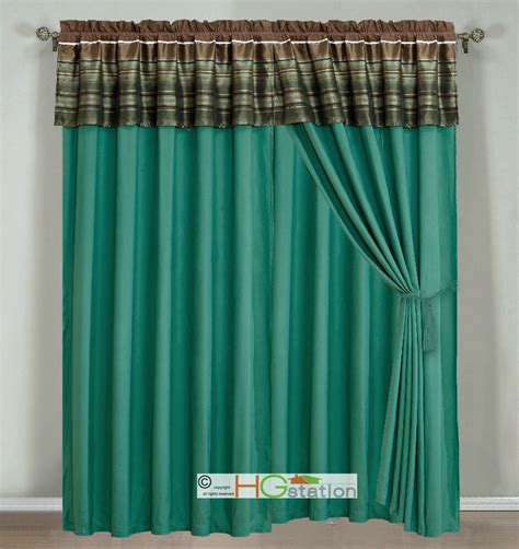 pc woodland jacquard striped curtain set teal brown