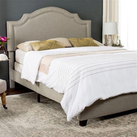 Safavieh Bed by Shop Safavieh Theron Light Grey Linen Upholstered Bed