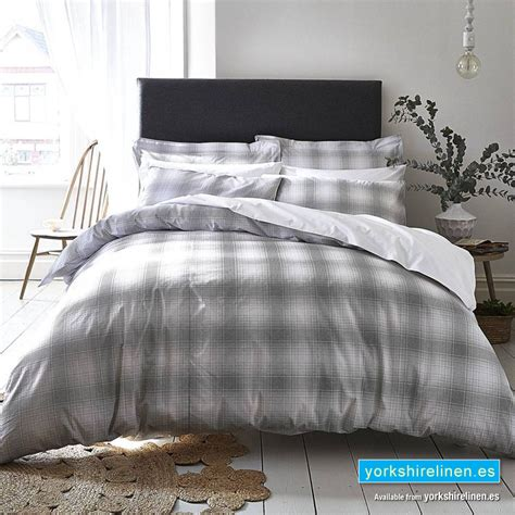 Neutral Bed Covers by Check Cotton Print Neutral Duvet Cover Set