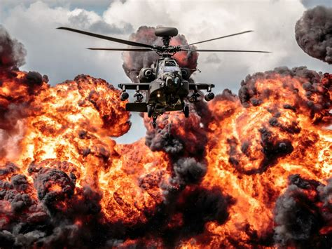 helicopter apache explosion fire hd desktop wallpaper