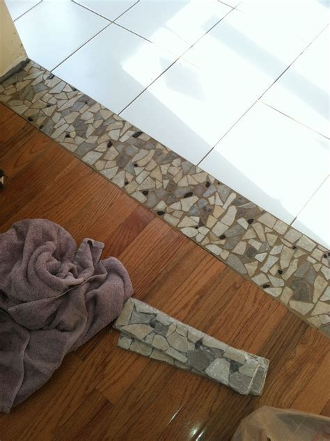 Stone threshold between tile and wood   house   Pinterest