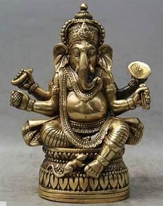 "6"" Tibet Buddhism Brass 4 Arms Ganesh Lord Ganesha ..."