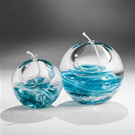 art glass oil lamp turquoise blue  white