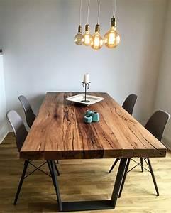 Pendelleuchte Esstisch Holz : esstisch massivholztisch aus eichenholz altholz tischgestell aus beton holzwerk hamburg ~ Watch28wear.com Haus und Dekorationen
