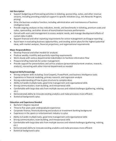 Financial Analyst Skills Resume by Sle Financial Analyst Resume 7 Exles In Word Pdf