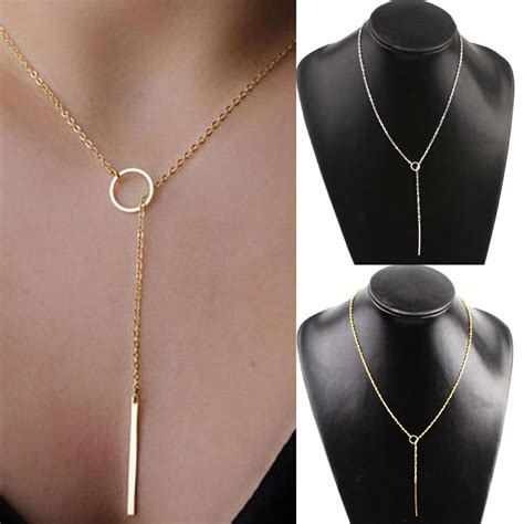 fashion chic  shaped gold plated bar circle lariat style