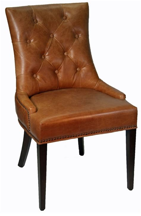 r 1071br antique brown accent leather dining chair