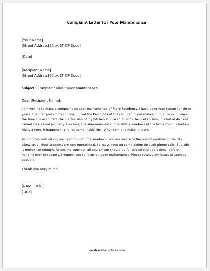 Complaint Letter for Poor Maintenance | Word & Excel Templates