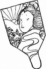 Fan Coloring Japan Japanese Culture Held Coloriage Japonais Imprimer Sketch Colouring Drawing Drawings Japon Gratuit Template China Colorier Dessins Manualidades sketch template