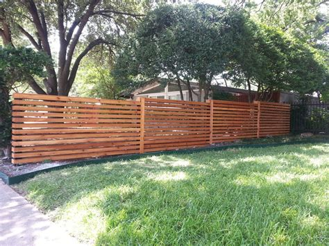 Horizontal Wood Fence Mixed With Chain Link Fence