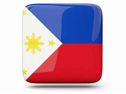 Philippines Square Icon Flag Glossy Commercial Non