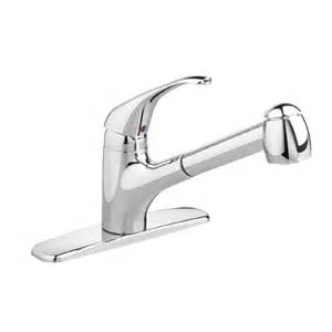 shop standard reliant stainless steel 1 handle pull out kitchen faucet at lowes com