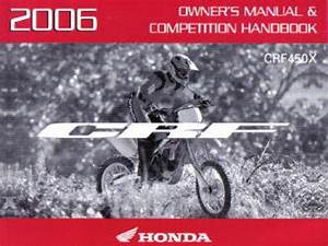 2006 Honda Crf450x Motorcycle Owners Manual Competition Handbook