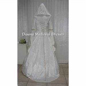 cream medieval renaissance hooded wedding dress pagan With hooded wedding dress