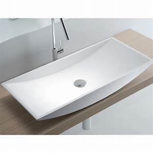Tv 80 Cm Blanche : vasque rectangulaire poser r sine blanche lasa idea ~ Teatrodelosmanantiales.com Idées de Décoration