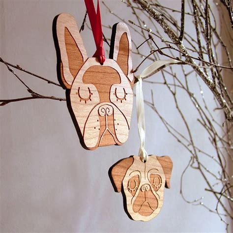 french bulldog wooden christmas decoration  hoobynoo