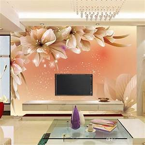 Custom luxury wallpaper elegant flowers photo wallpaper for Best brand of paint for kitchen cabinets with large flower wall art