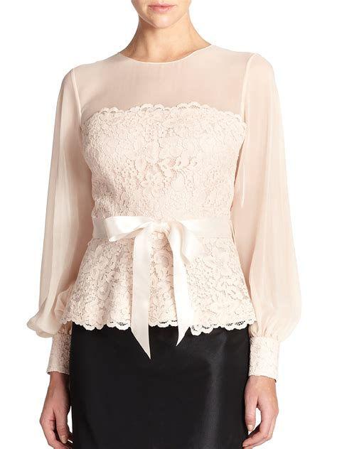 lace blouse teri jon lace chiffon blouse in pink lyst