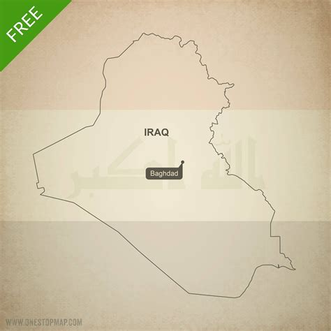 Free Vector Map Of Iraq Outline One Stop Map