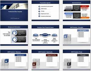 Powerpoint professional blue template for Setting up a powerpoint template
