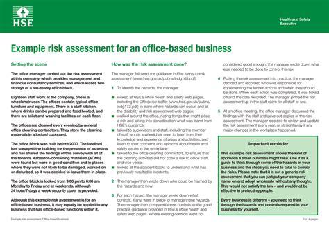 risk assessment office based business
