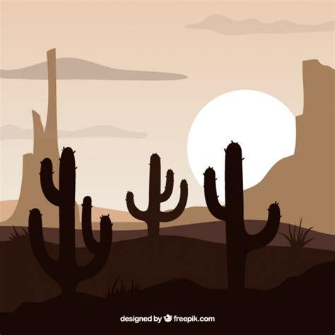 Fondo del oeste con cactus Vector Gratis