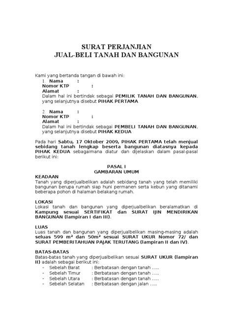 surat perjanjian jual beli tanah  bangunan