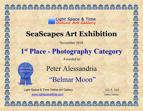 1st Place Certificate Alessandria Photography Seascapes 2016 Juried