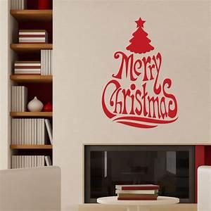 sticker arbre noel texte anglais adhesifs noel With carrelage adhesif salle de bain avec led christmas tree