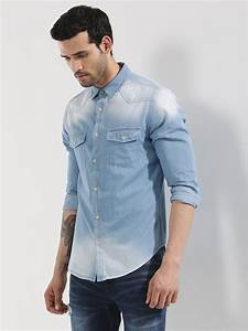 Buy Exclusive Mid Wash Denim Shirt For Men - Menu0026#39;s LT.BLUE Casual Shirts Online in India