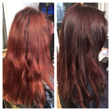 Before Faded Out Red After Lovely Chocolate Colour