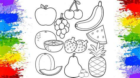 Pintando frutas Pinturas de desenhos divertidos para