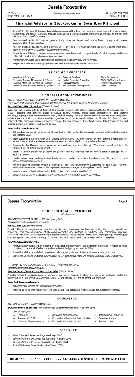 Resume Experience In Finance by Finance Resume Sle Financial Advisor Stockbroker