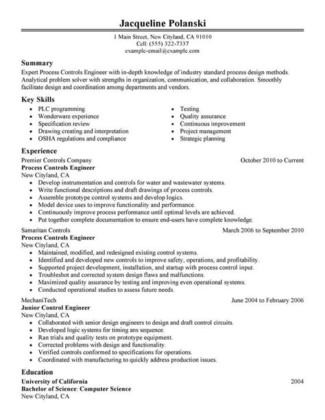 Process Engineer Resume by Best Process Controls Engineer Resume Exle Livecareer