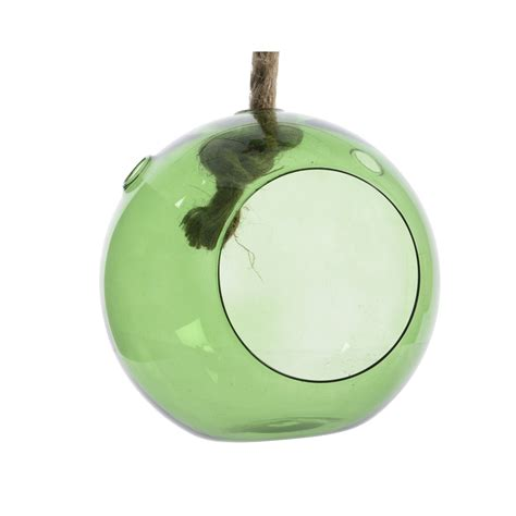 boule verre vert a suspendre 216 18 florimat