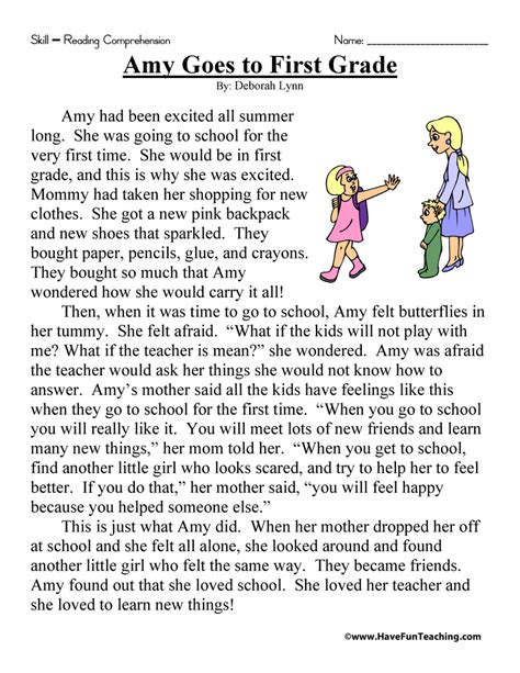 Amy Goes To First Grade  Reading Comprehension Worksheet