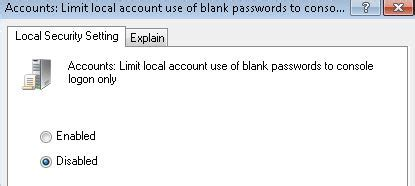 The configuration to enable null (blank) passwords logon must be done on the host computer, i.e to configure the remote desktop host computer to accept user name with blank password, go to. Fix Logon Failure: User Account Restriction Error (IIS or Remote Desktop) « My Digital Life