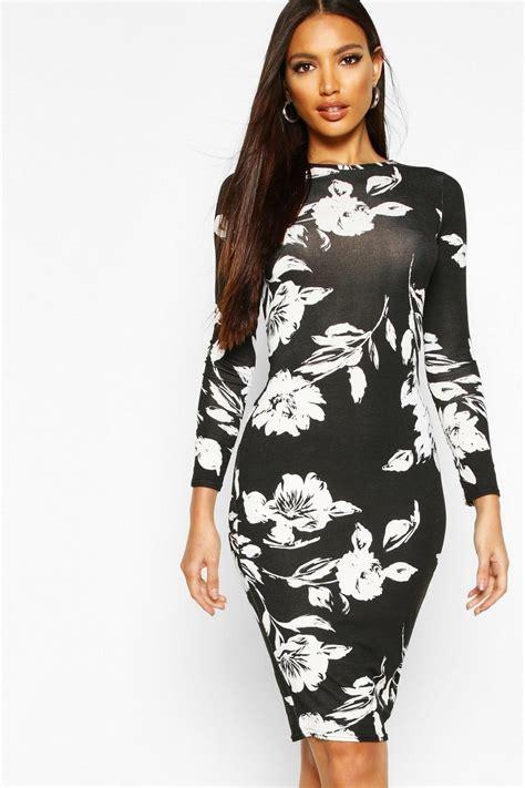 Boohoo Womens Emma Long Sleeve Midi Bodycon Dress Ebay