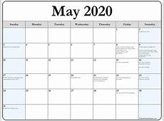 May 2020 calendar with holidays printable calendar