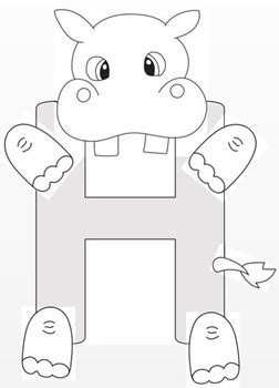 hippo crafts  letter  tracing page  crafting