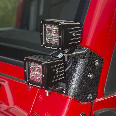 jeep wrangler led lights rugged ridge 11232 38 dual a pillar led kit square 97 06
