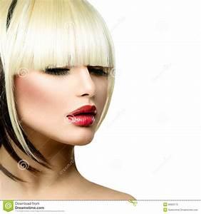 Fashion Woman. Fringe Hairstyle Stock Photography - Image ...