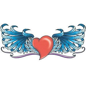 temporary tattoo red heart  blue wings