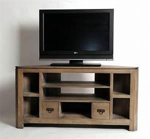 meuble tv d39angle hevea massif grise 7 niches 2 tiroirs With wonderful meuble en manguier massif 5 meuble tv en bois exotique gris