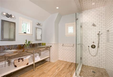 colored subway tile kitchen traditional with wood floor