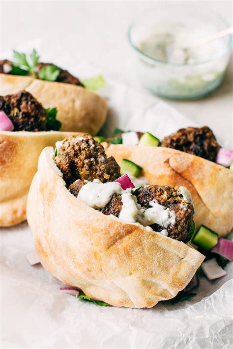 Kofta Pita Sandwiches with Garlic Tahini Sauce Recipe ...