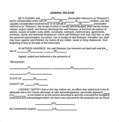 general release form template 8 general release forms sles exles formats sle templates