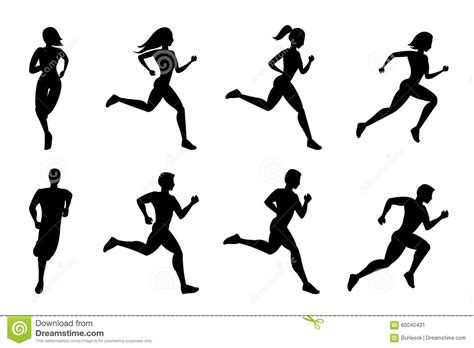 Running People Silhouettes Stock Vector - Image: 60040431