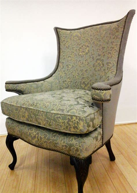 Getting A Chair Reupholstered by Antique Chair Reupholstered In Two Complimentary Fabrics
