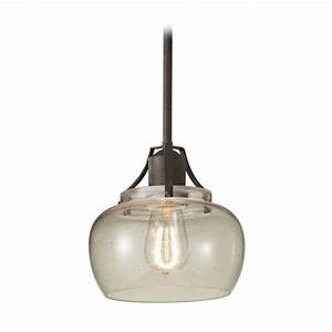 Seeded glass mini pendant light retro shades